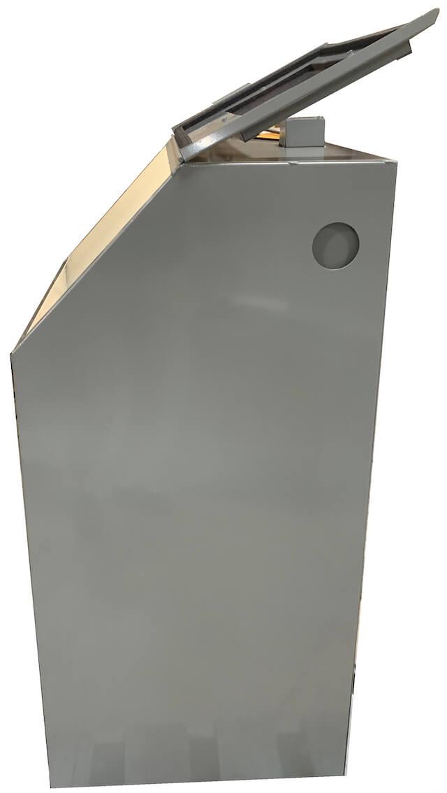 Cyclone T14 tumble blast cabinet - Side lid open