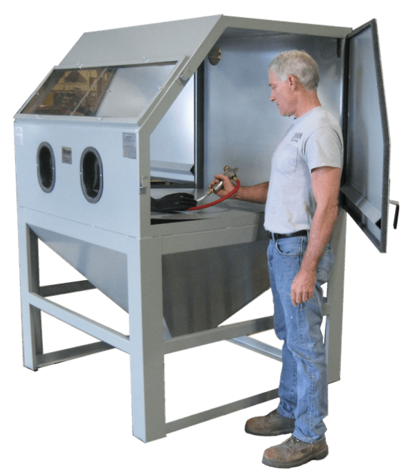 Cyclone Model M4848 Abrasive Sandblasting Cabinet open